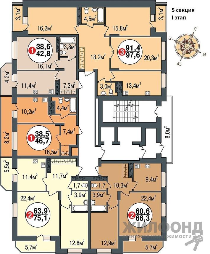 Продажа трехкомнатной квартиры в новостройке, г. Новосибирск в Заельцовском районе, Дуси Ковальчук, 242/1 стр площадь 91.5 кв. м. фотография номер 3